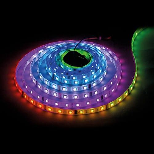 Дигитална LED лента, 7.2W/m, 5V DC, RGB, 5м, Водоустойчива IP67, 30 LEDs/m, IC WS2812B, 120°, SMD 5050