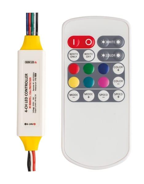 Професионален RF контролер за RGBW LED осветление 69W (6V),138W (12V),276W (24V), 6-24V DC, Водоустойчив IP63