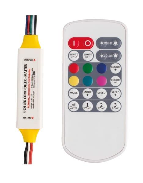 Професионален RF контролер за RGBW LED осветление, MASTER, 69W (6V),138W (12V),276W (24V), 3x2.5+4A А, 6-24V DC, Водоустойчив IP63