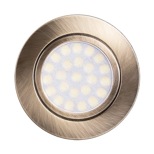 Мини LED луна за вграждане, 4W, 4200K, IP44, Сатиниран месинг, 220V-240V AC, 60°, Неутрална светлина, SMD 2835