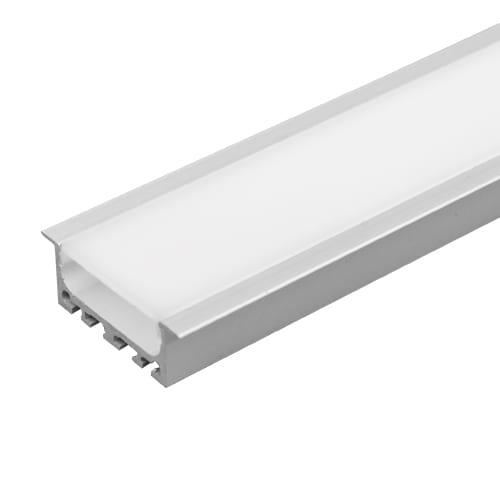 Алуминиев профил за LED лента за вграждане, широк плитък, 2м