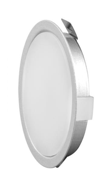 Мебелна светодиодна луна за вграждане кръг 2W, 4000K, Сребриста, 12V DC, 120°, Неутрална светлина, SMD 2835