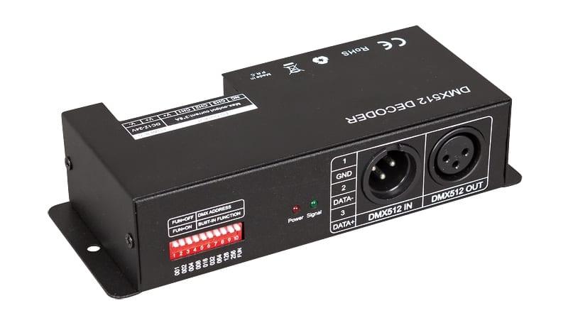 DMX контролер за RGB LED осветление, 288W(12V), 24А, 12-24V DC