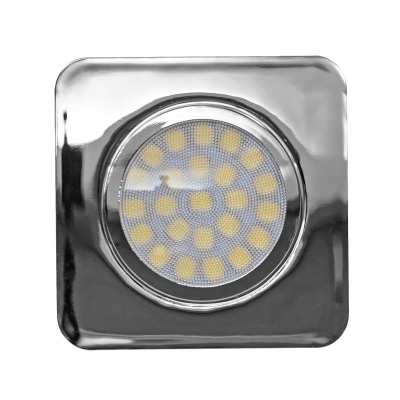 LED мебелна луна за вграждане квадрат, 3W, 4200K, 12V DC, IP44, Хром, 60°, Неутрална светлина, SMD 2835
