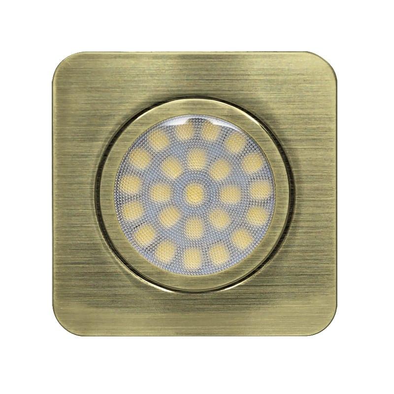 LED мебелна луна за вграждане квадрат, 3W, 4200K, 12V DC, IP44, Сатиниран месинг, 60°, Неутрална светлина, SMD 2835