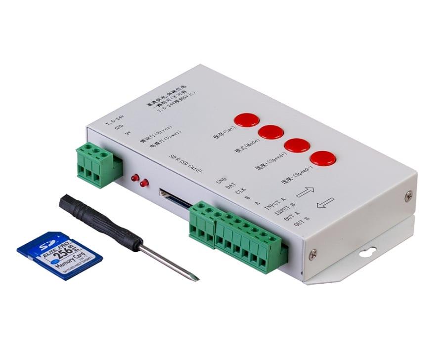 Универсален контролер за дигитално LED осветление SD-карта,1 порт, 5-24V DC, 2048 pixels