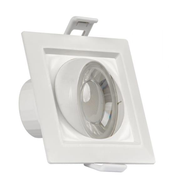 LED луна за вграждане подвижна 8W, квадрат, 4200K, 220V-240V AC, 90°, Неутрална светлина, SMD 2835