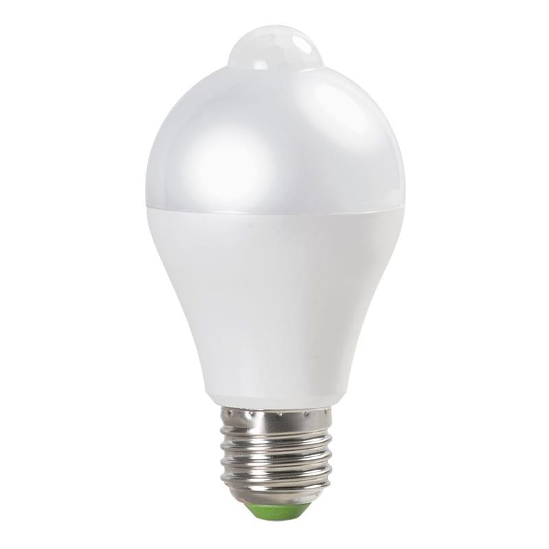 LED крушка с PIR сензор / 6W / 4200K / E27 / Неутрална светлина / SMD 2835
