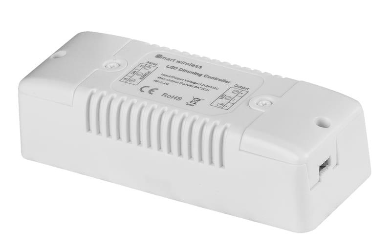 Smart 2.4G RF димер за едноцветна LED лента 192W(12V) 384W(24V), 2х8А, 12-24V DC