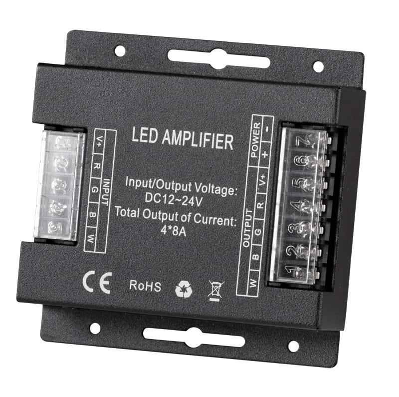 Усилвател за RGBW LED лента 384W(12V) 768W(24V), 12-24V DC, 4х8А