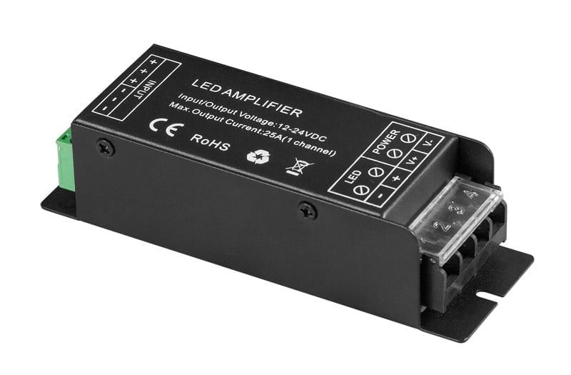 Усилвател за едноцветна LED лента 300W(12V), 600W(24V), 25A, 12-24V DC