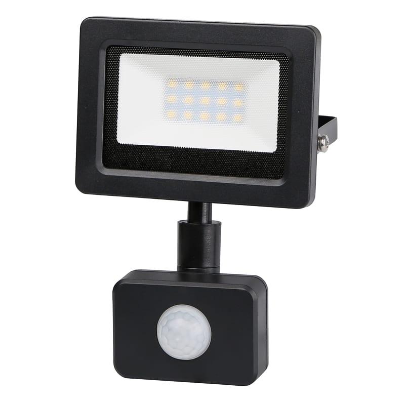 LED SLIM PIR прожектор 10W, 4200K, 220V-240V AC, Неутрална светлина, IP44, 120°, SMD 2835