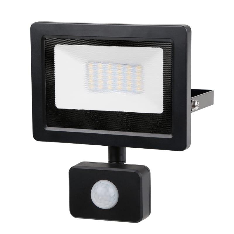 LED SLIM PIR прожектор 20W, 4200K, 220V-240V AC, Неутрална светлина, IP44, 120°, SMD 2836