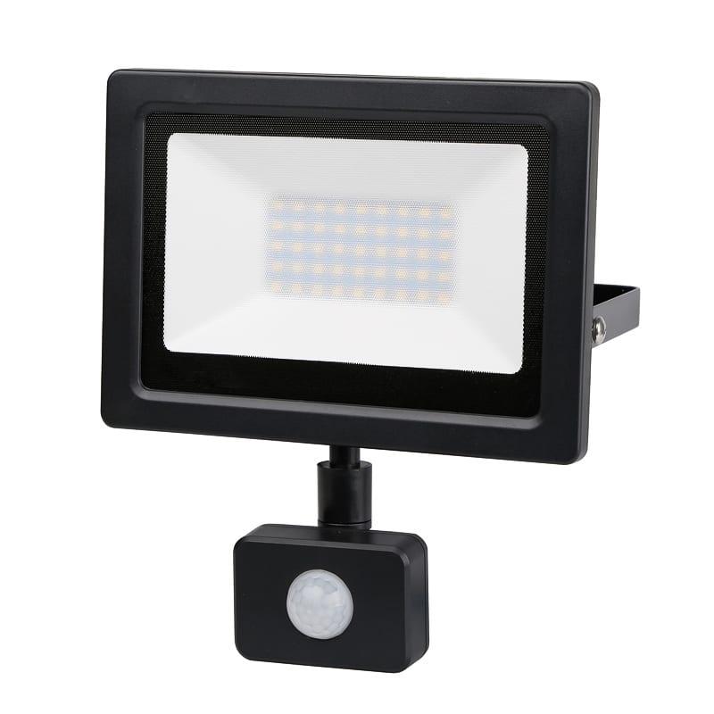 LED SLIM PIR прожектор 30W, 4200K, 220V-240V AC, Неутрална светлина, IP44, 120°, SMD 2837