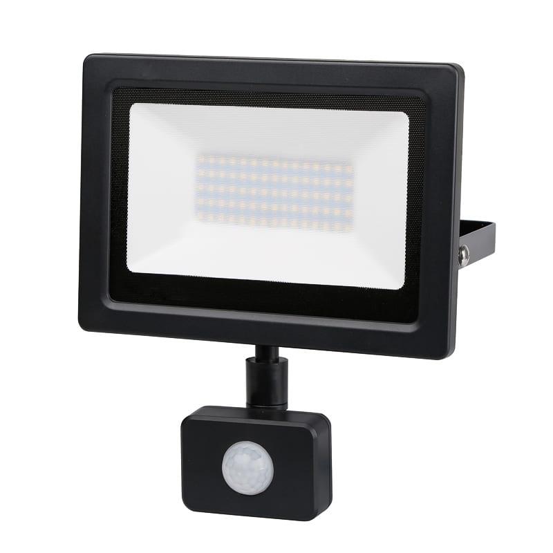 LED SLIM PIR прожектор 50W, 4200K, 220V-240V AC, Неутрална светлина, IP44, 120°, SMD 2838