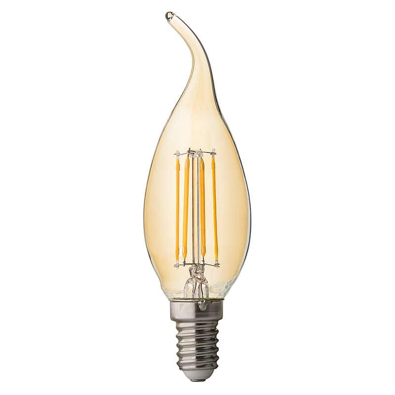 LED крушка / Димиращ филамент / пламък / 4W / E14