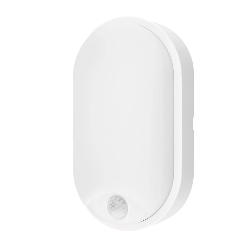 LED Влагозащитена плафониера с PIR сензор 14W, 4200K, Елипса, Бяла, Неутрална светлина, 220V-240V AC, IP54, SMD 2835