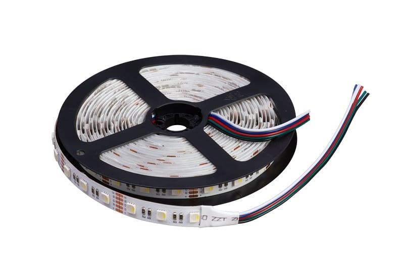 LED лента 14.4W/m, RGB+бяла, 5м, 12V DC, Неводоустойчива, 60 LEDs/m, 120°, SMD 5050