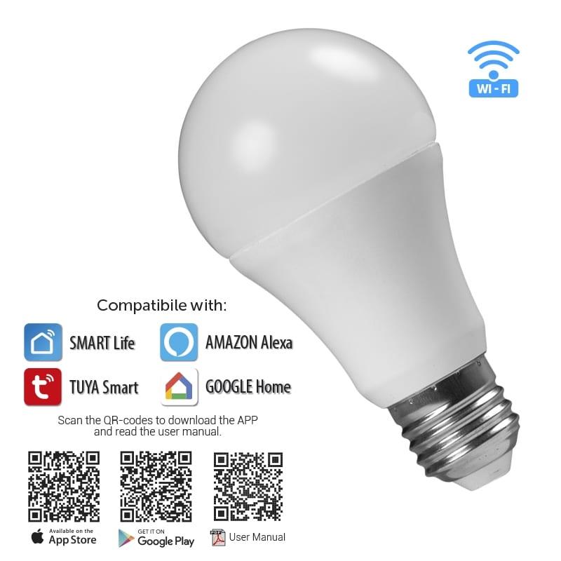 WiFi Smart LED крушка 8W, E27, RGB+4200K, 270°, 220V-240V AC