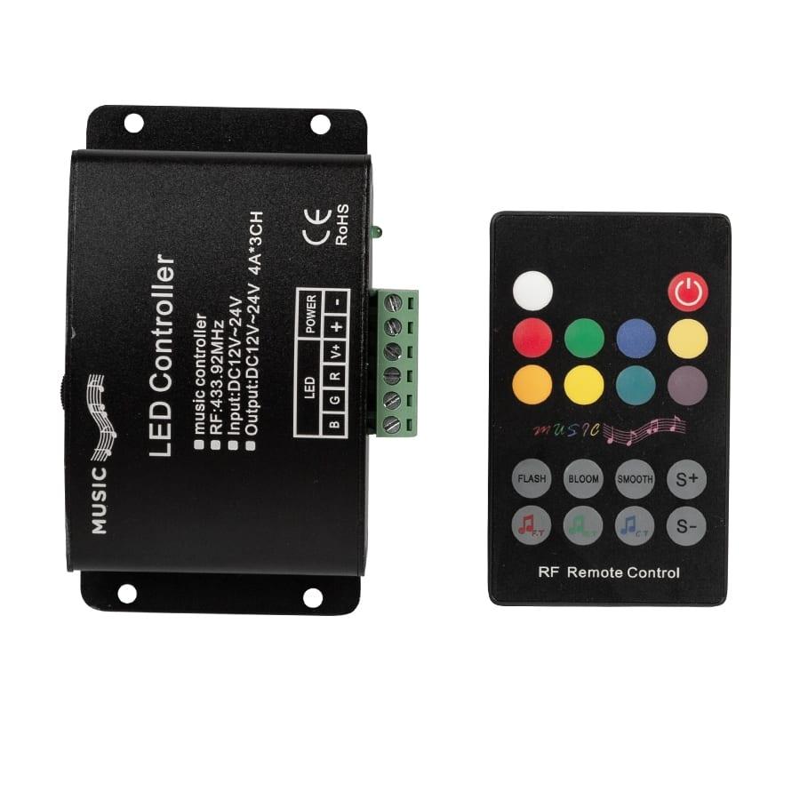 RF Аудио контролер за RGB LED осветление 144W(12V) 288W(24V), 12-24V DC