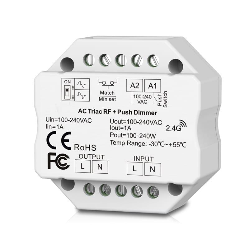 RF TRIAC, PUSH димер за конзола 220W, 1A, 220V-240V AC