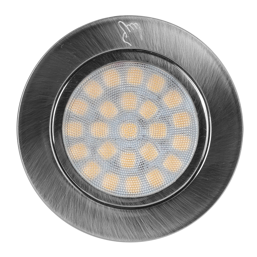 LED Мебелна TOUCH луна за вграждане, кръг, 2W, 4200K, 12V DC, IP44, Сатиниран никел, 220V-240V AC, 60°, Неутрална светлина, SMD 2835