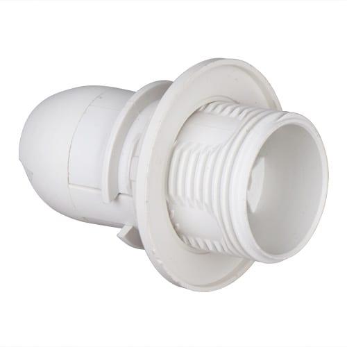 Пластмасова фасунга Половин резба, Бяла, E14, 1 бр.