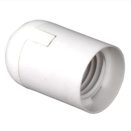Пластмасова фасунга Гладка, Бяла, E27, 1 бр.