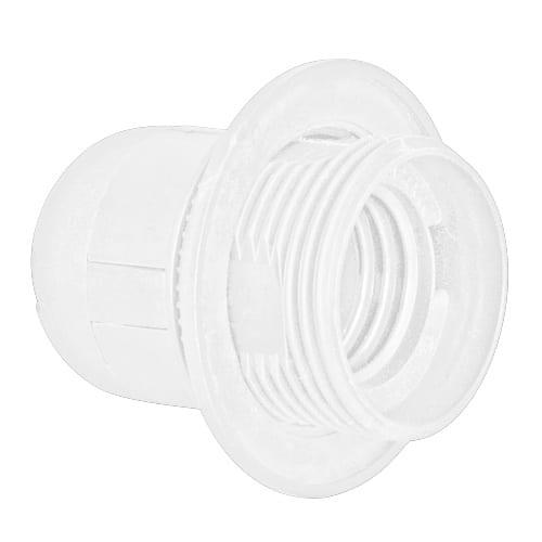 Пластмасова фасунга Половин резба, Бяла, E27, 1 бр.
