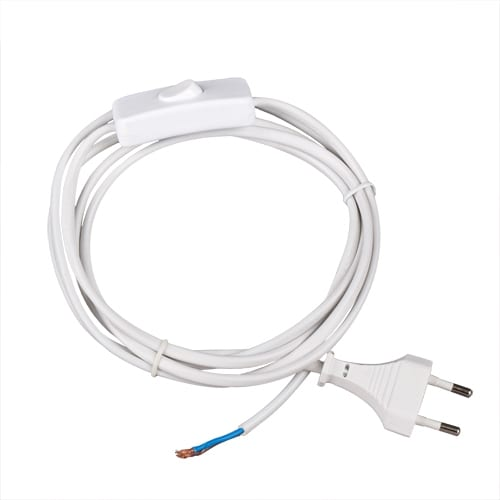 Захранващ кабел с щепсел и ключ, Бял