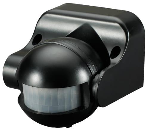 Сензор за движение за външен монтаж, Черен 180°, 12м, IP44, 220V-240V AC, 1200W