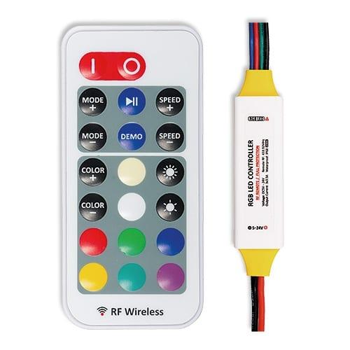 Професионален RF контролер за RGB LED осветление 126W (12V), 5-24V DC