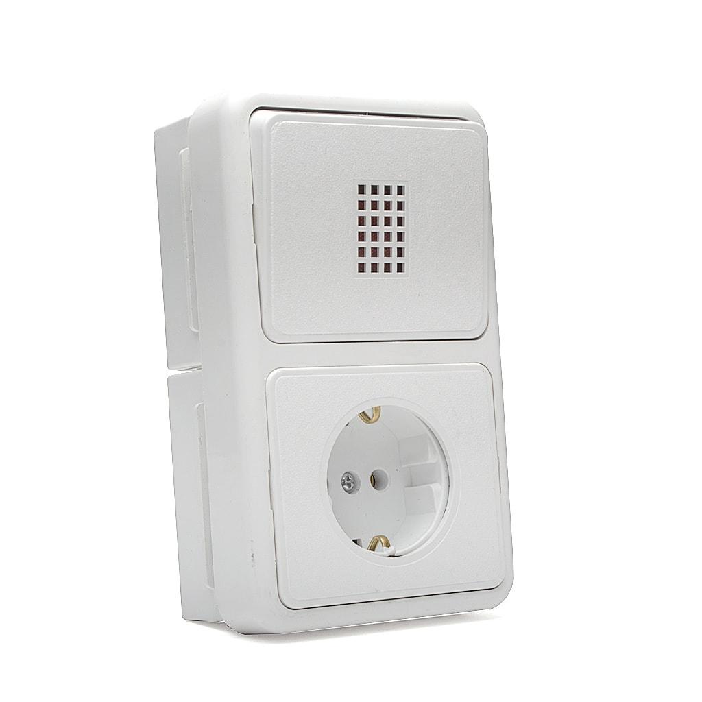 Бойлерно табло НК - Двойна комбинация (ключ Двуполюсен + контакт), 16A, 250V, Открит монтаж, Бял