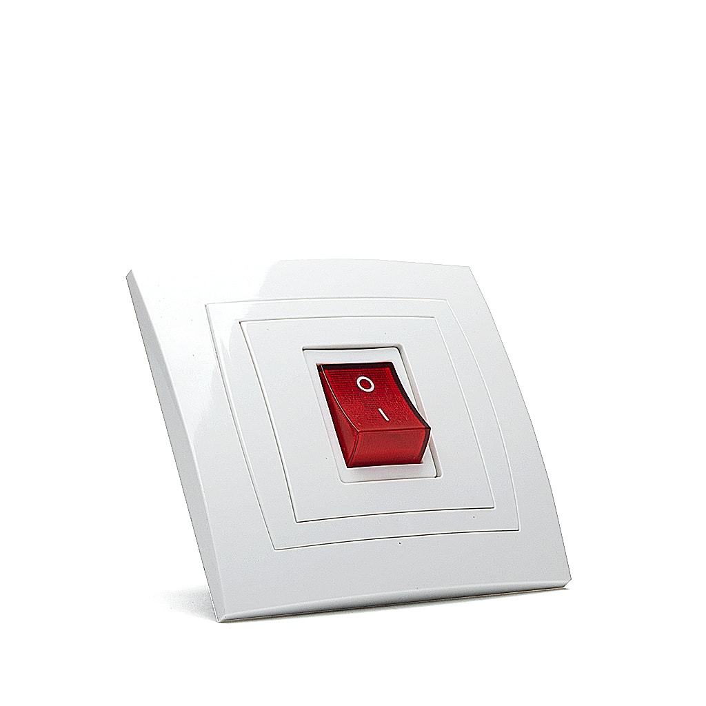 Ключ Бойлер Мираж НК, сх.2, 20A, 250V, Скрит монтаж, Бял