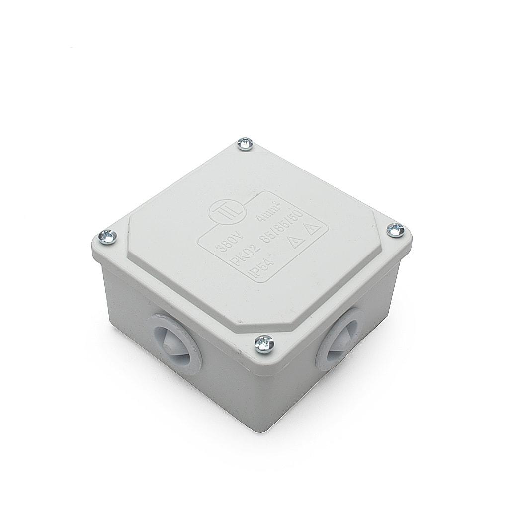 Разклонителна кутия за открит монтаж, IP54, 85x85x50мм, Бяла