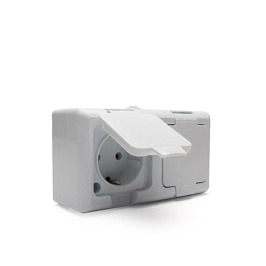 Влагозащитен IP44 контакт / Двоен / 16А / 230V